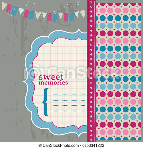 Scrapbook Design Elements - Beautiful Page for your birthday, congratulation, invitation - csp8341223