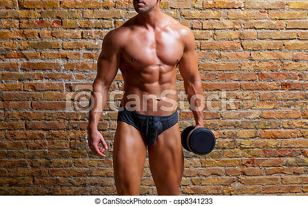 muscle shaped underwear man with weight on gym - csp8341233
