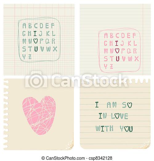 Set of hand-written LOVE CARDS in vector - csp8342128