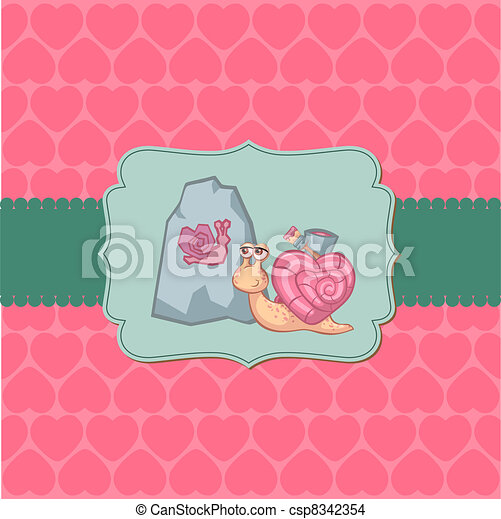 Cute Love Card - for Valentine's day, scrapbooking  in vector - csp8342354