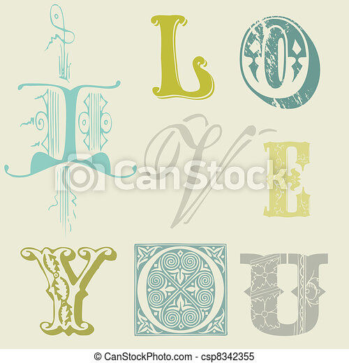 """Vintage Letters """"I LOVE YOU"""" Card in vector - csp8342355"""