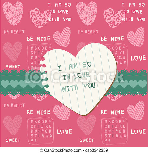 Cute Love Card - for Valentine's day, scrapbooking  in vector - csp8342359