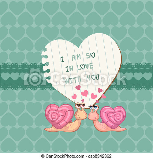 Cute Love Card - for Valentine's day, scrapbooking  in vector - csp8342362