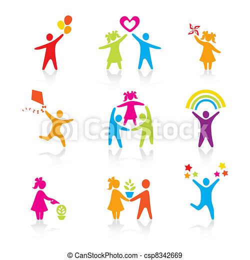 セット, シルエット, 人々, 子供, 人, アイコン,  -, シンボル, 男の子, 女, 女の子, 親, 父, ベクトル, 家族, 母, 子供 - csp8342669