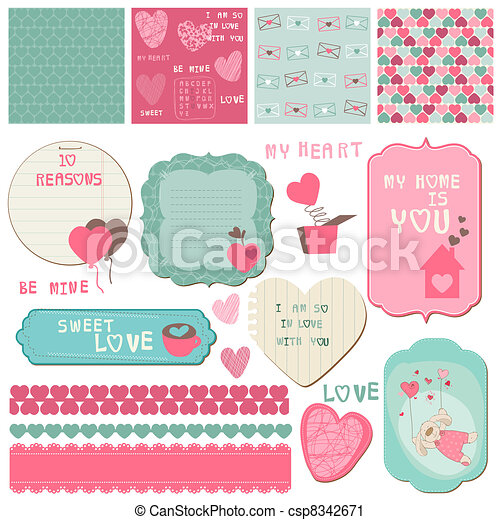 Scrapbook Design Elements - Love Set - for cards, invitation, greetings in vector - csp8342671