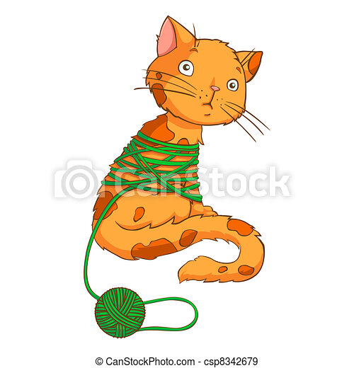 Cartoon cat playing with thread on a white background - vector - csp8342679