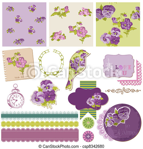 Scrapbook Design Elements - Vintage Flowers in vector - csp8342680