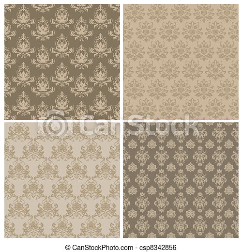 Set of Seamless Damask Wallpaper Patterns in vector - csp8342856