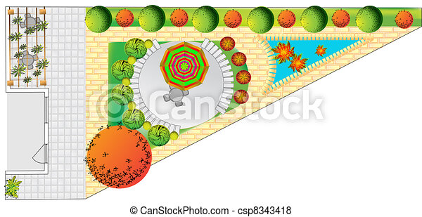 Plan of garden - csp8343418