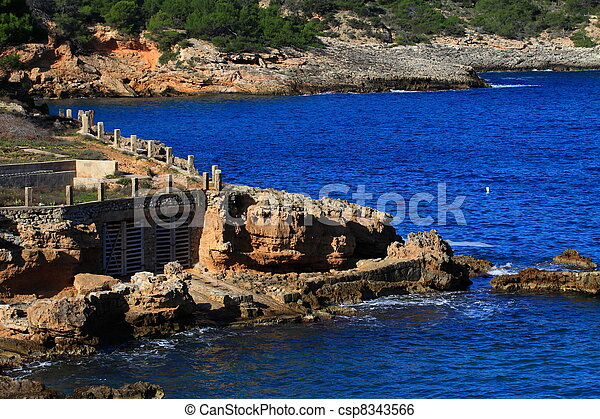 Beautiful small bay in Ibiza, Baleares Island, Spain. - csp8343566