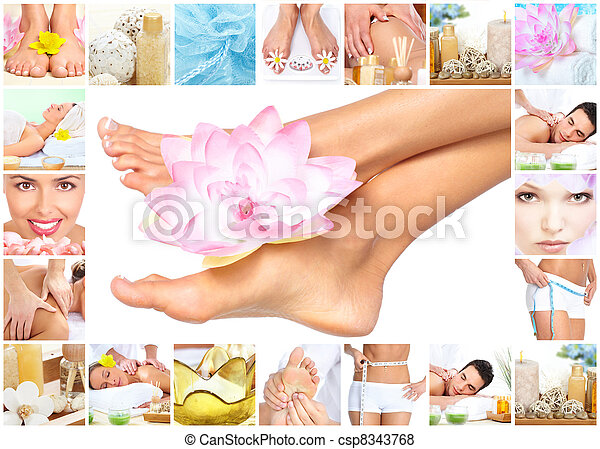 Spa massage. Legs with flower. - csp8343768