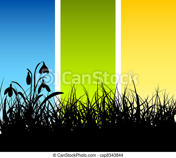 Spring vector grass background  - csp8343844