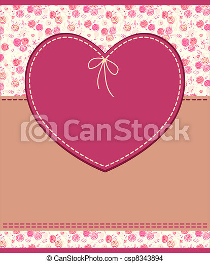 Vector pink heart textile label - csp8343894