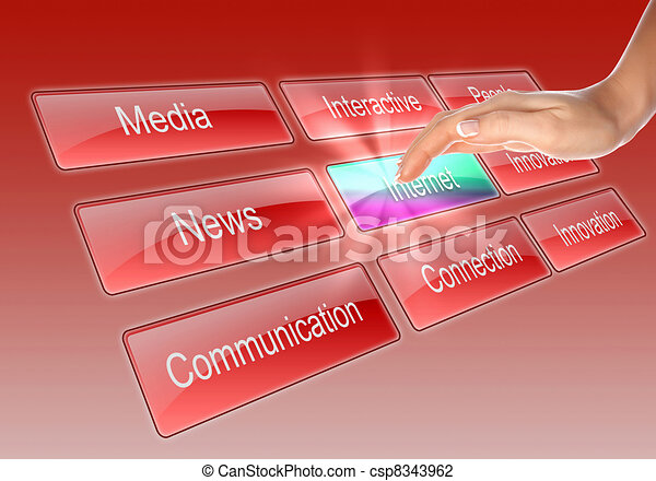 Digital display with business words - csp8343962