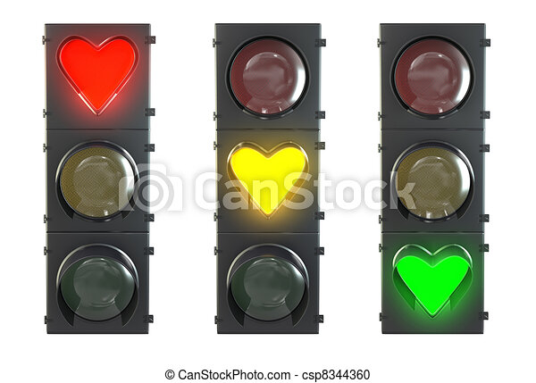 Set of traffic light with heart shaped red, yellow and green lamps isolated on white background - csp8344360