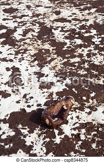 Crude Oil Soaked Bottle on Oil Covered Beach - csp8344875