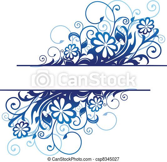 Blue floral border - csp8345027