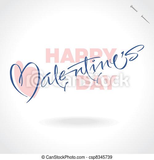 valentines hand lettering (vector) - csp8345739