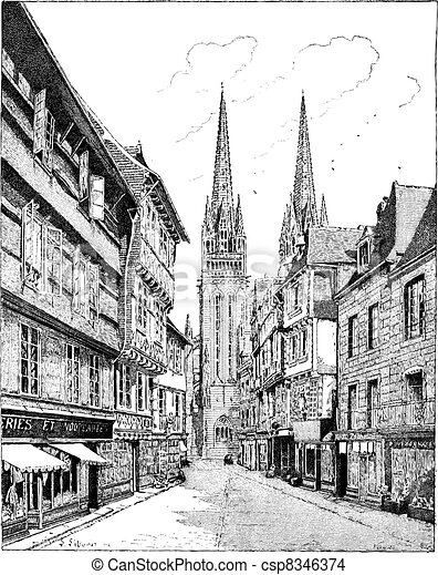 Quimper Cathedral in France vintage engraving - csp8346374