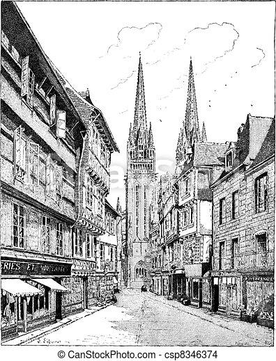 Quimper Cathedral in France vintage engraving - csp8346374