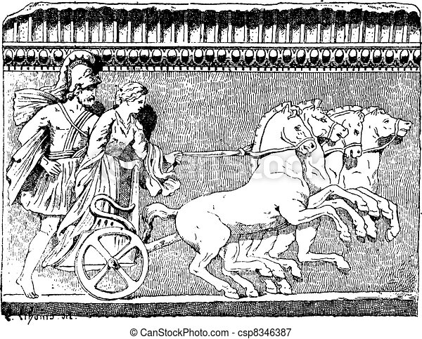 The Return of Helen on quadriga vintage engraving - csp8346387