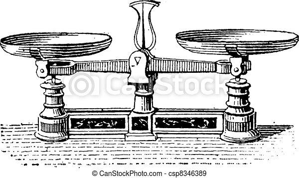 Fig.3. Roberval balance, vintage engraving. - csp8346389