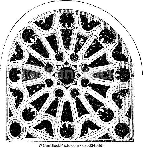 Rose Renaissance, In the Church of Sainte-Clotilde Andelys, vintage engraving. - csp8346397