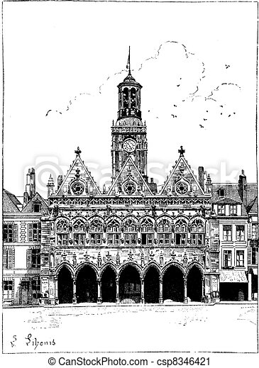 The town hall of Saint-Quentin vintage engraving - csp8346421