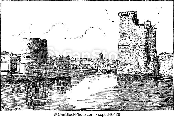Port of La Rochelle, France, vintage engraving. - csp8346428