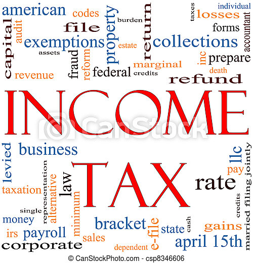 Stock Image of Income Tax Word Cloud concept - A word cloud ...