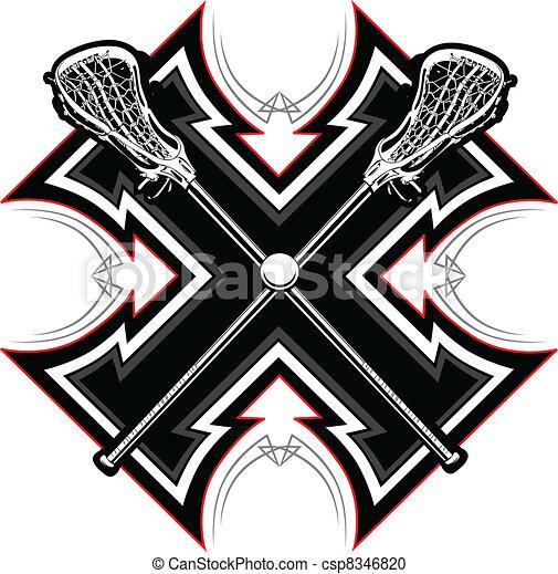 Lacrosse Sticks Graphic Vector Temp - csp8346820