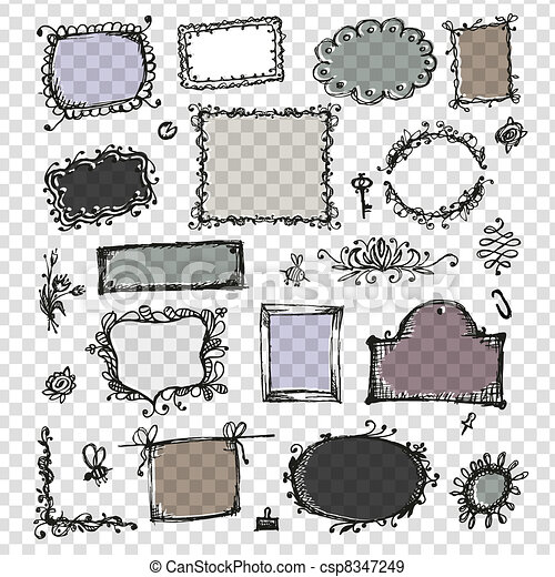 Sketch of frames, hand drawing for your design  - csp8347249