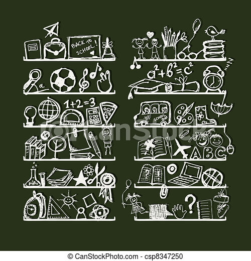 Objects for school on shelves, sketch drawing for your design  - csp8347250