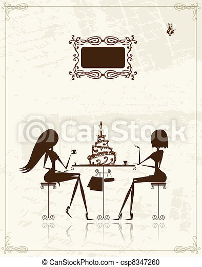 Fashion girls in cafe, illustration for your design  - csp8347260