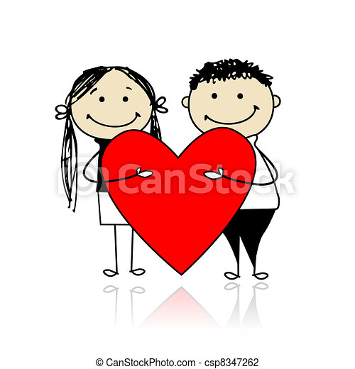 Valentine day. Couple with big red heart for your design - csp8347262