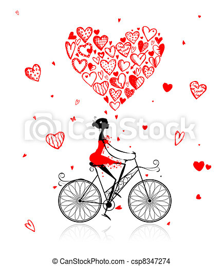 Girl cycling with big red heart for valentine day - csp8347274