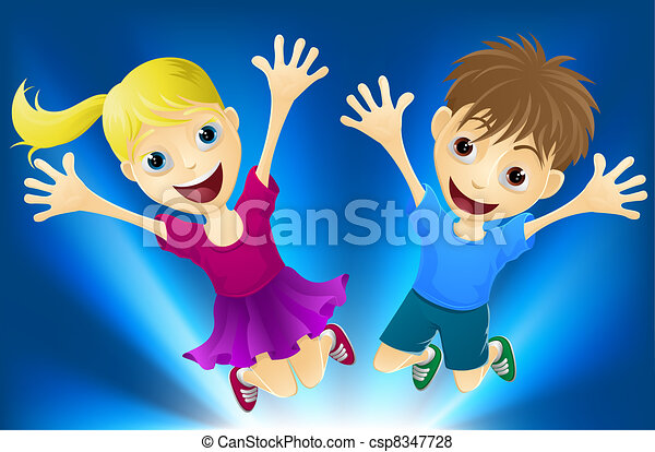 Happy children jumping for joy - csp8347728