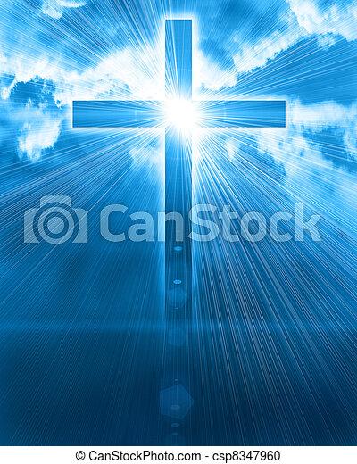 glowing cross in sky - csp8347960