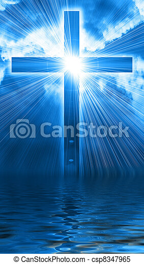 glowing cross in sky - csp8347965