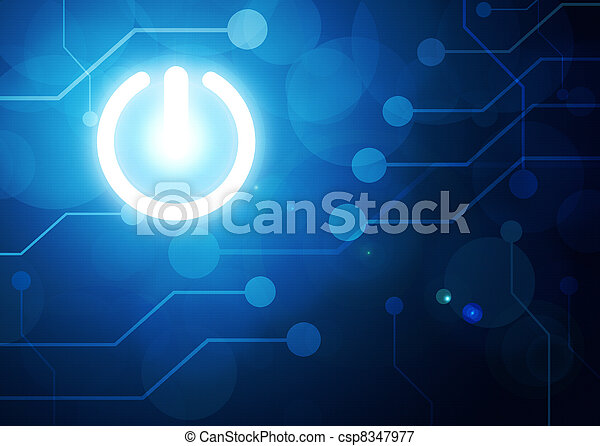 power button on digital background - csp8347977