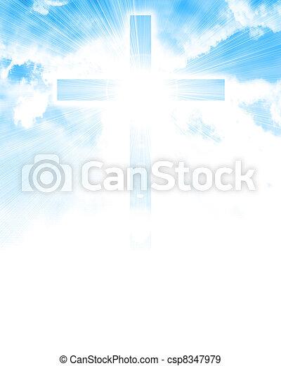 glowing cross in sky - csp8347979