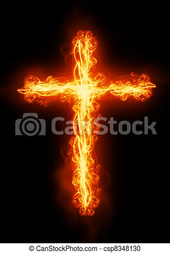 cross burning in fire - csp8348130
