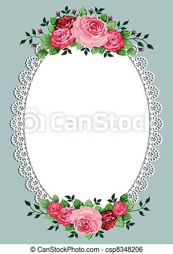 Vintage roses oval frame - csp8348206