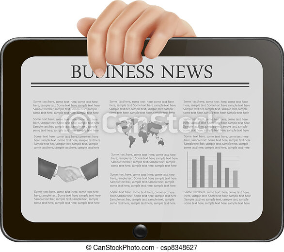 Tablet pc with business news. - csp8348627