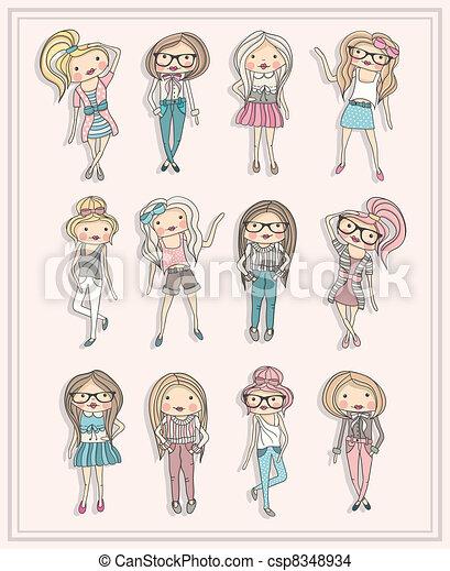 cute little fashion girls - csp8348934