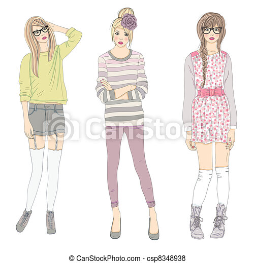 cute teenager fashion girls - csp8348938