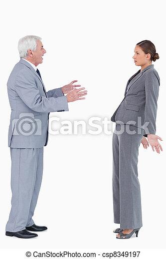 Businessman accusing colleague - csp8349197