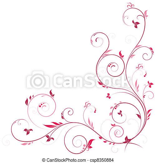 Floral corner in pink color - csp8350884