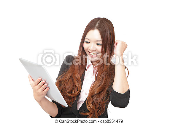 Tablet computer woman looking excited at touchpad pc screen - csp8351479