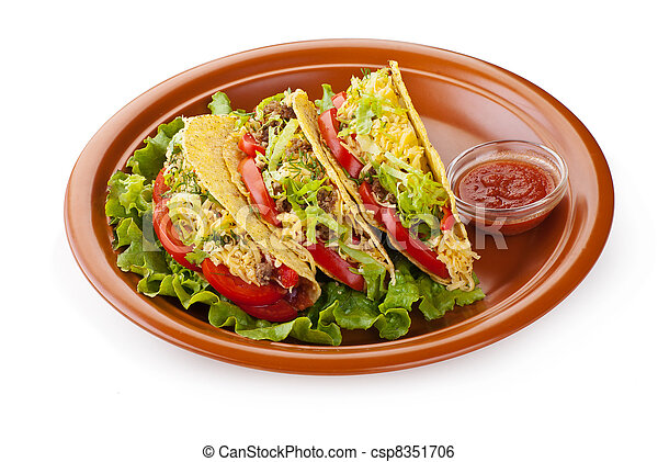 beef tacos with salad and tomatoes salsa - csp8351706